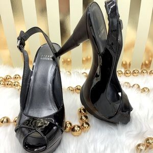 Stuart Weitzman Patent Leather Peep Toe Heels